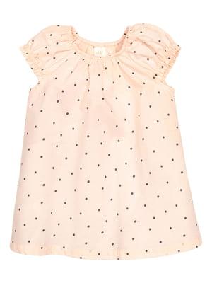 Платье бежевого цвета в горошек   5658668