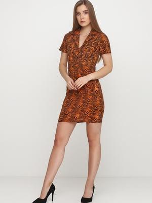 Сукня морквяного кольору в анімалістичний принт | 5658705