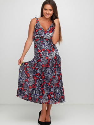 Сукня синя в квітковий принт | 5658735
