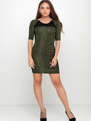 Сукня чорно-зеленого кольору з орнаментом | 5658738