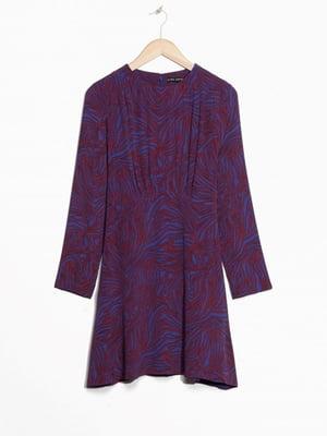 Сукня фіолетова в принт | 5658747