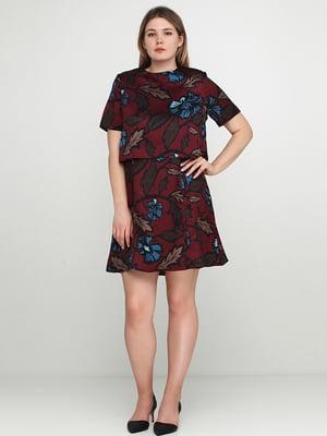 Сукня бордова в квітковий принт | 5658757