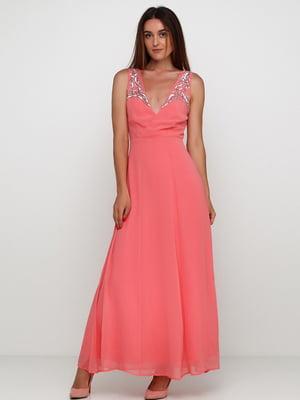 Сукня коралового кольору з декором | 5658759