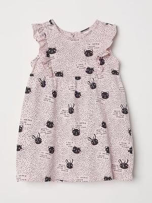 Платье розового цвета в принт   5658764