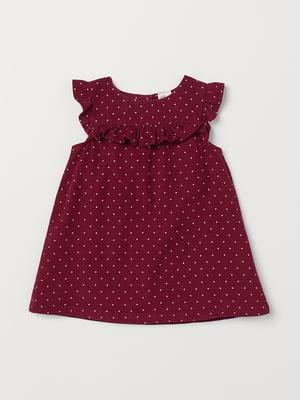 Платье бордовое в горошек | 5658780