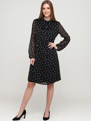 Платье черное с рисунком-горохом | 5658855