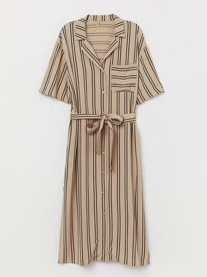 Платье бежевого цвета в полоску | 5658879