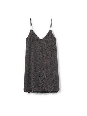 Платье черное в мелкий цветочный принт | 5658931