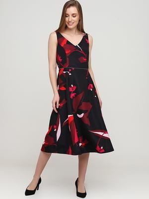 Платье черное в цветочный принт | 5658955