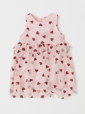 Платье розового цвета с рисунком   5658978