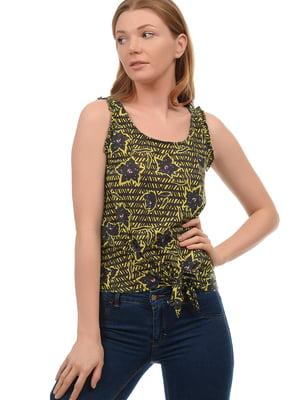 Блуза черно-желтая в цветочный принт | 5659121