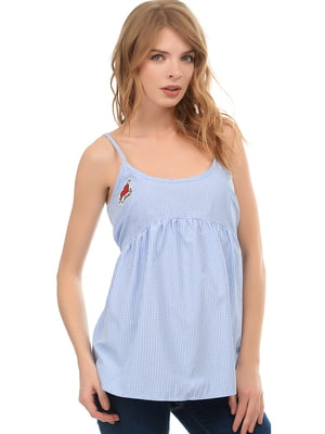 Блуза-топ синяя в клетку | 5659122