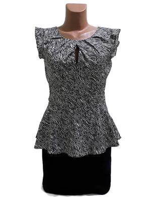 Блуза чорна в анімалістичний принт | 5659196