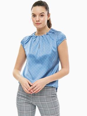 Блуза синяя в горошек | 5659200