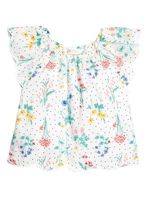 Блуза белая в цветочный принт | 5659205