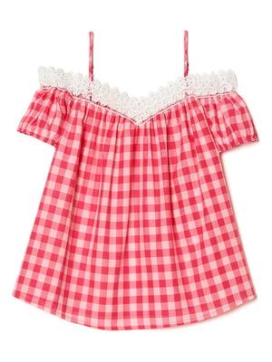 Блуза червоного кольору в клітинку | 5659207
