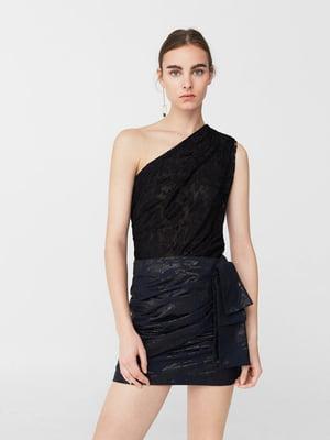 Блуза-топ черная с узором   5659213