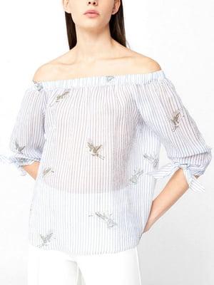 Блуза біла в смужку і з малюнком | 5659272