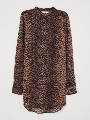 Рубашка-туника коричневого цвета в анималистический принт | 5659279