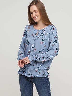 Блуза голубого цвета в цветочный принт | 5659332