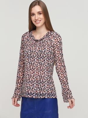Блуза бежевого цвета в анималистический принт | 5659338