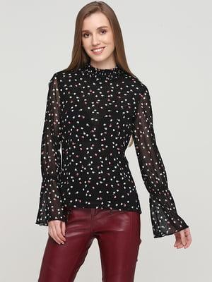 Блуза черная в принт | 5659339