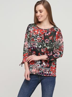 Блуза цвета хаки в цветочный принт | 5659341