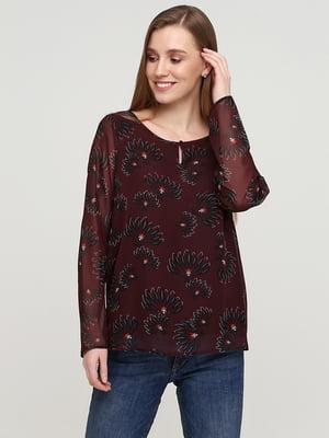 Блуза бордовая в цветочный принт | 5659346