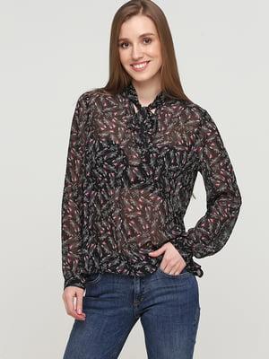 Блуза черная в цветочный принт | 5659349
