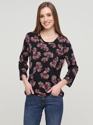 Блуза черная в цветочный принт | 5659350