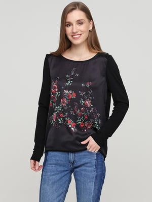Блуза черная с цветочной вышивкой | 5659355