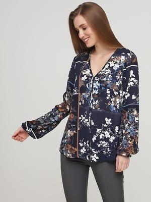 Блуза синяя в цветочный принт | 5659359