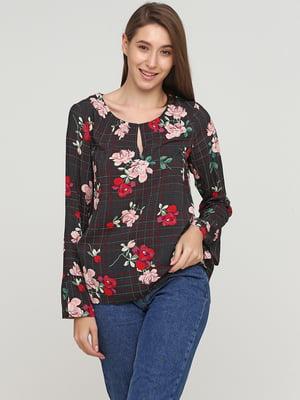 Блуза в клетку и в цветочный принт | 5659361