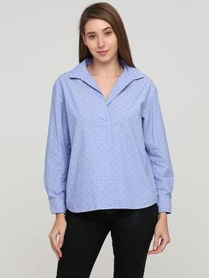 Блуза-рубашка голубого цвета в горошек | 5659365