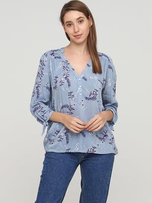 Блуза-рубашка голубого цвета в цветочный принт | 5659371