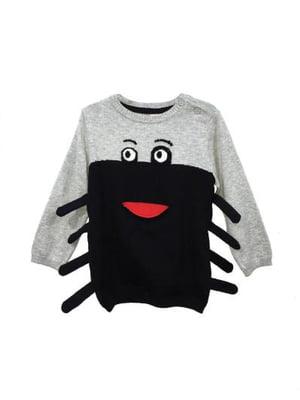 Джемпер черно-серый с рисунком | 5660257