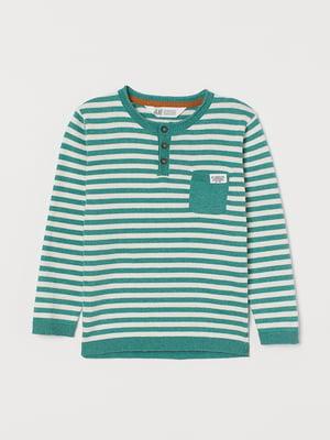 Джемпер-поло зеленый в полоску | 5660275