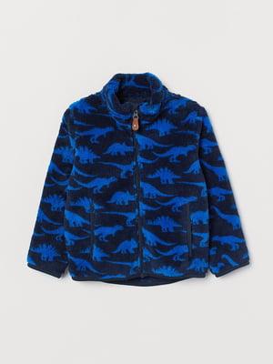 Куртка синяя в принт | 5660514