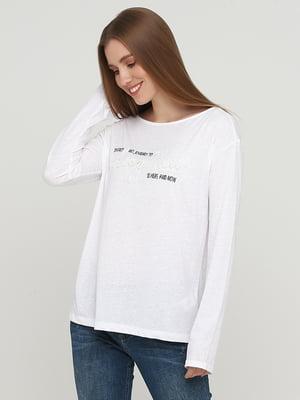 Лонгслив белый с рисунком | 5660665