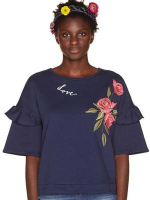 Блуза з квітковим малюнком і написом | 5660837