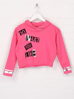 Худі рожевого кольору в принт | 5660859