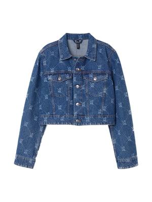 Куртка джинсова синя в принт | 5660917