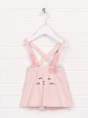 Спідниця зі шлейками рожевого кольору з малюнком | 5660925