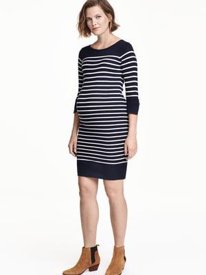 Платье для беременных синее в полоску | 5660931
