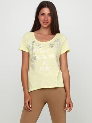 Футболка пижамная желтая в принт   5660935