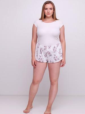 Шорты пижамные белые в цветочный принт | 5660942