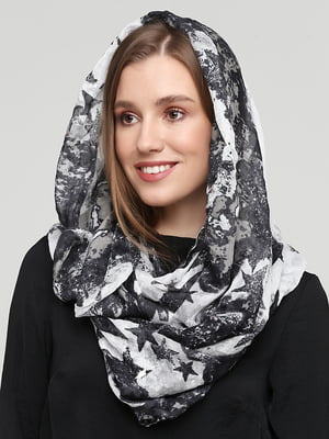 Шарф чорно-білий у принт | 5660997