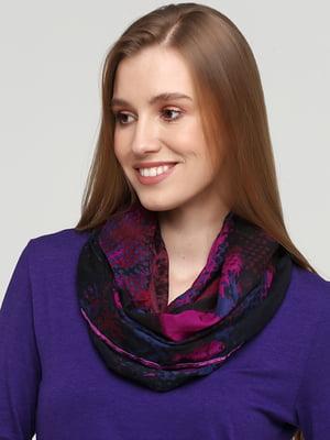 Шарф фіолетовий в принт | 5661002