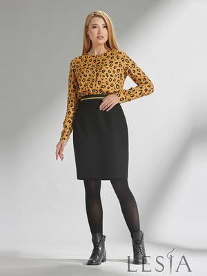 Блуза горчичного цвета в принт | 5304064