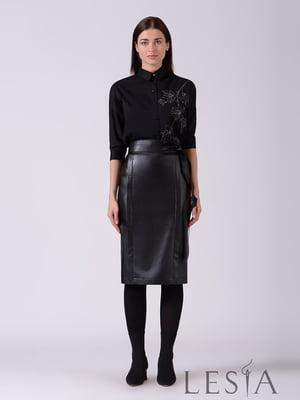 Рубашка черная с декором | 5533088